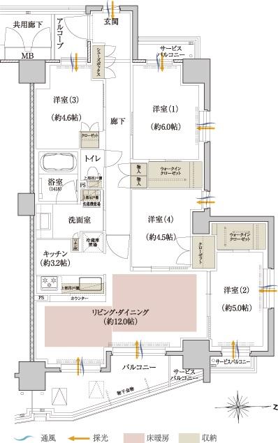 バルコニー面積:9.30㎡、9.39㎡(1階)  アルコーブ面積:2.56㎡  サービスバルコニー面積:2.82㎡