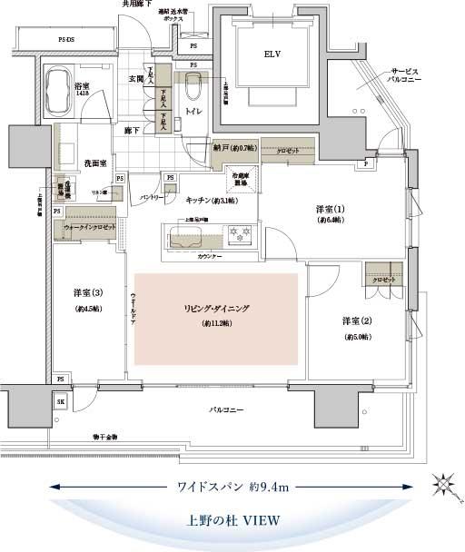 バルコニー面積:16.00㎡、16.54㎡(2階)