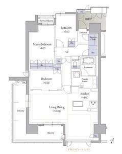 サービスバルコニー面積:1.59㎡  トランクルーム面積:0.33㎡(専有面積に含む)  ※201号室 6,390万円