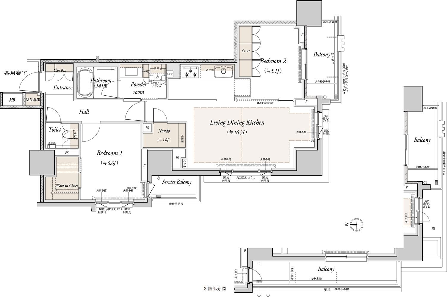 防災倉庫面積:0.48㎡※専有面積に含む  バルコニー面積:12.24㎡(3F)、4.20㎡(4~15F)  サービスバルコニー面積:3.81㎡  ※10階以上の天井にはスプリンクラーが設置されています。  ※洗濯機置場の床は高さ約150mmの立ち上がりがございます。