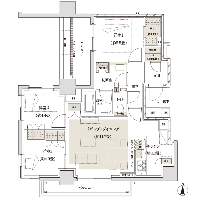 バルコニー面積:8.36㎡(2階)          13.90㎡(3~6階)  サービススペース面積:5.54㎡(2階)