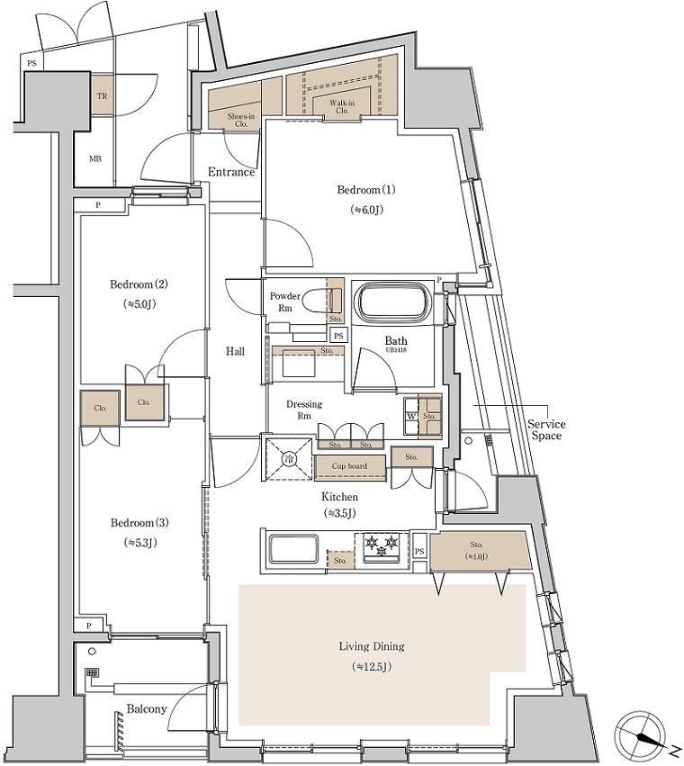 バルコニー面積:4.49㎡(2階)、4.87㎡(3~10階)  トランクルーム面積:0.33㎡※専有面積に含む