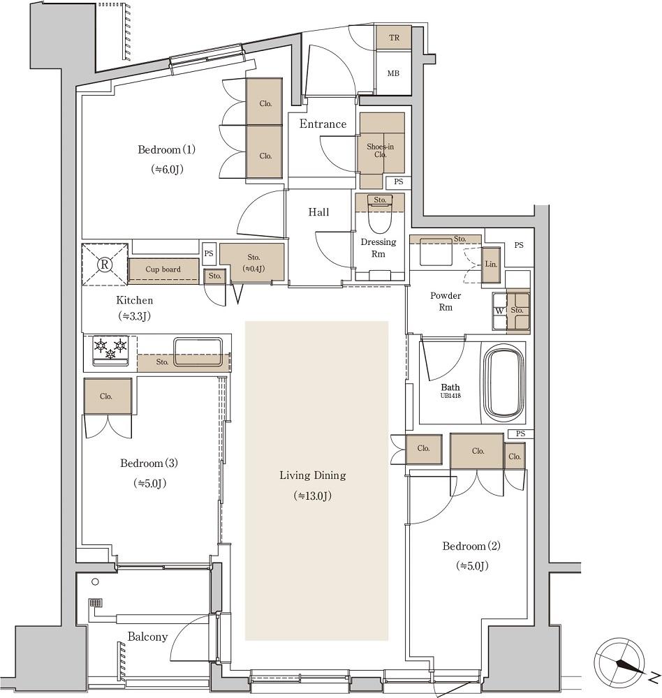 バルコニー面積:4.49㎡(2階)、4.87㎡(3~10階)  トランクルーム面積:0.31㎡※専有面積に含む