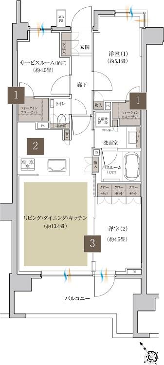 【1】収納豊富な2つのウォークインクローゼット  【2】人気の対面キッチン  【3】間取りを柔軟に可変できる3連引込戸