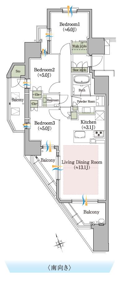 ※専有面積は、防災倉庫面積1.32㎡含む   サービスバルコニー面積:1.62㎡  アルコーブ面積:1.39㎡