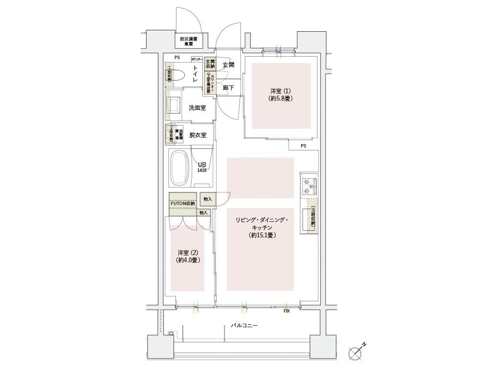バルコニー面積:9.79㎡(3〜10階)、10.53㎡(2階)  防災備蓄倉庫面積:0.88㎡