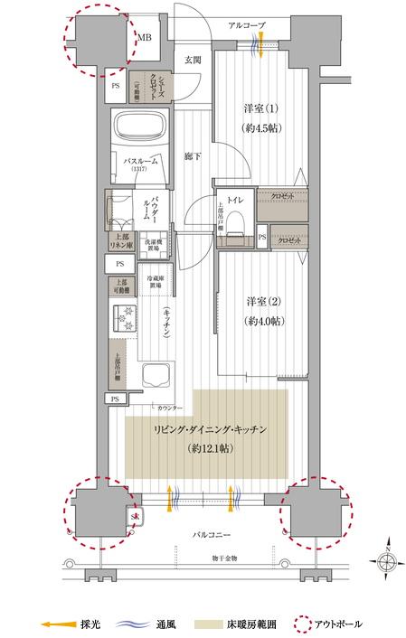 アルコーブ面積:2.34㎡  ※住居専有面積にはメーターボックス面積0.94㎡含む
